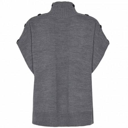 Nümph Strik, Nudarlene Button, Medium Grey Mel Numph pullover strik vest ryg