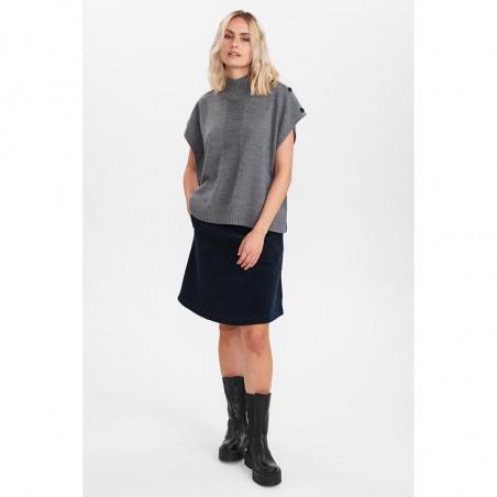 Nümph Strik, Nudarlene Button, Medium Grey Mel Numph pullover på model look