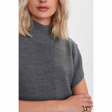 Nümph Strik, Nudarlene Button, Medium Grey Mel Numph pullover detalje