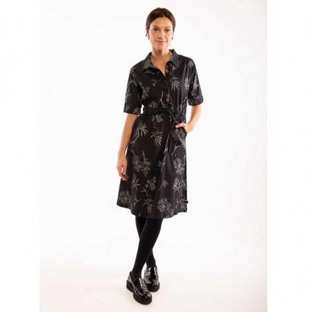 Danefæ Kjole, Susanne, Dark Grey/Silver Grey danefae skjortekjole på model