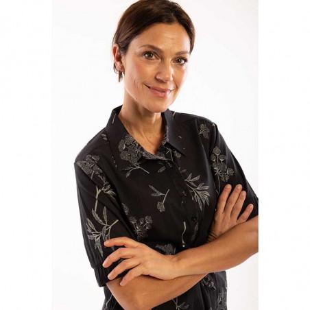 Danefæ Kjole, Susanne, Dark Grey/Silver Grey danefae skjortekjole detaljebillede