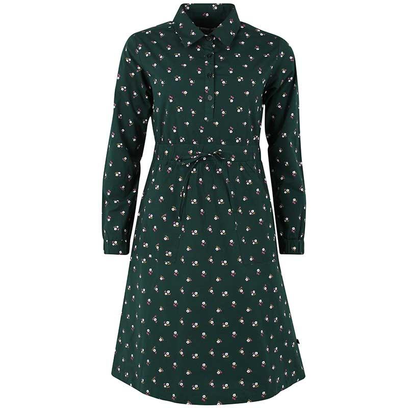Danefæ Kjole, Ditte, Black Green Miniflower Danefae skjortekjole