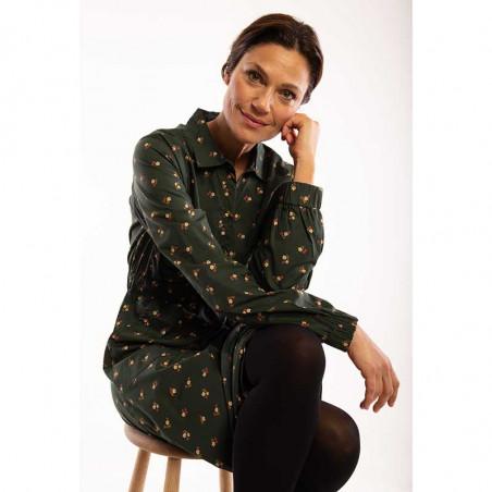 Danefæ Kjole, Ditte, Black Green Miniflower Danefae skjortekjole model siddende