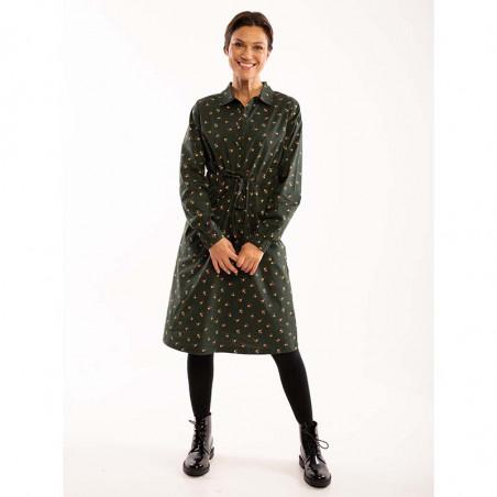 Danefæ Kjole, Ditte, Black Green Miniflower Danefae skjortekjole på model