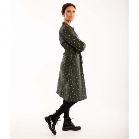 Danefæ Kjole, Ditte, Black Green Miniflower Danefae skjortekjole på model side