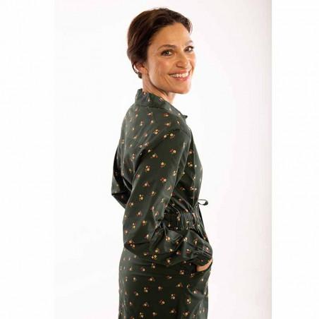 Danefæ Kjole, Ditte, Black Green Miniflower Danefae skjortekjole detalje