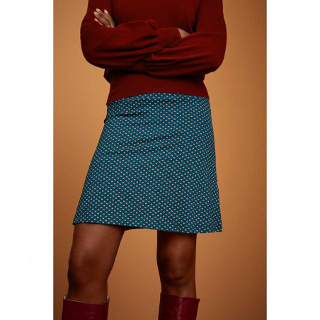 King Louie Nederdel, Border Skirt Trifle, Dragonfly Green Kinglouie jersey nederdel på model