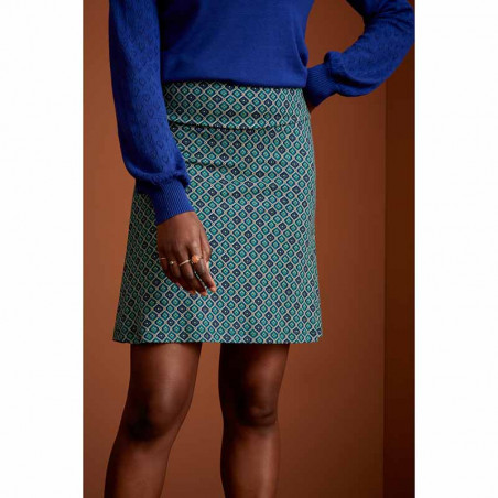 King Louie Nederdel, Border Skirt Carlisle, Peacoat Blue KingLouie jersey nederdel på model