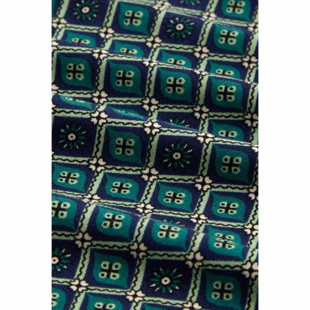 King Louie Nederdel, Border Skirt Carlisle, Peacoat Blue KingLouie jersey nederdel print detalje