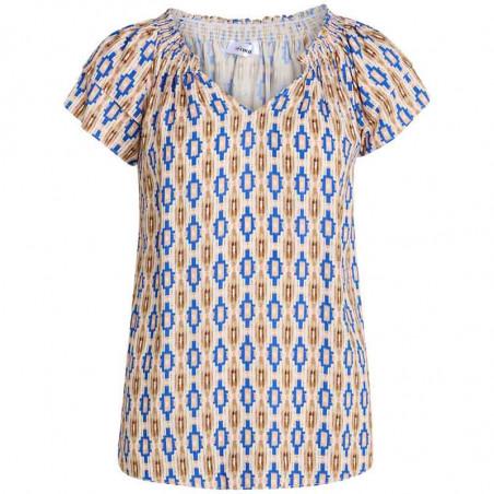 Co'Couture Bluse, Sunrise Wanda, Sky Blue, smocksyning, flæseærmer, ecovero