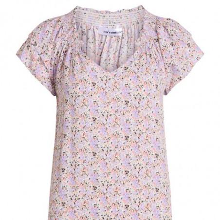 Co'Couture Kjole, Sunrise Crop Kandi, Purple, sommerkjole, smocksyning, v-udskæring, flæser