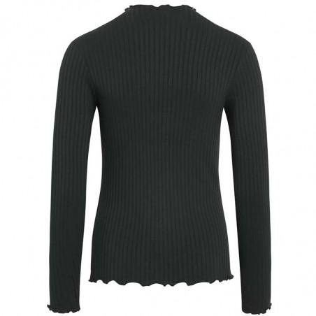 Mads Nørgaard Bluse, Trutte, Scarab, langærmet t-shirt, grøn, rib, høj krave