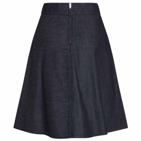 Mads Nørgaard Nederdel, Stelly Fall Indigo, Unwashed, denim skirt, a-form, bagside