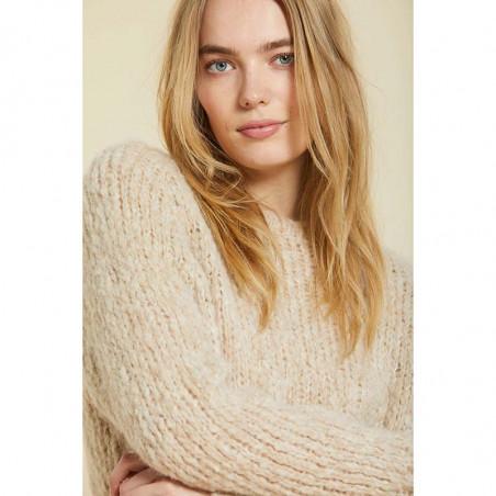 Sibin Linnebjerg Strik, Amsterdam, Sand Sibin linnebjerg sweater strik pullover på model