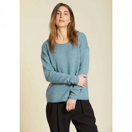 Sibin Linnebjerg Strik, Lupe, Light Petrol Uld sweater på model