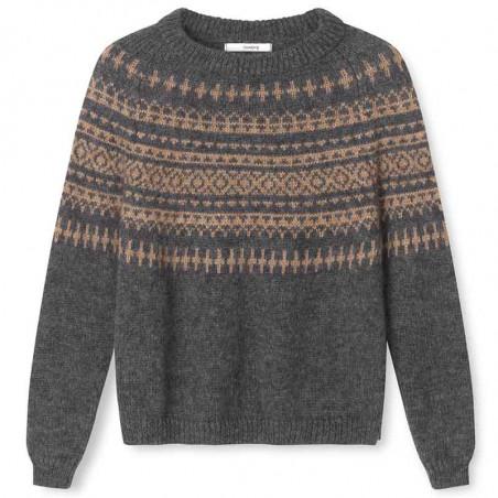Sibin Linnebjerg Strik, Verona, Antrazit/Camel Sweater pullover