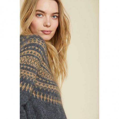 Sibin Linnebjerg Strik, Verona, Antrazit/Camel Sweater pullover på model