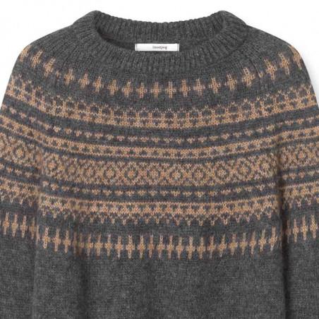 Sibin Linnebjerg Strik, Verona, Antrazit/Camel Sweater pullover detalje
