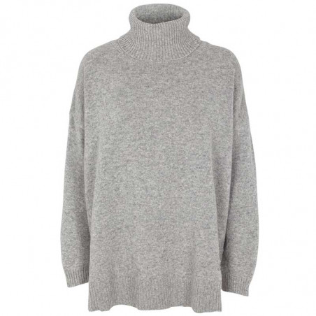 Basic Apparel Strik, Line T-neck, Light Grey Mel