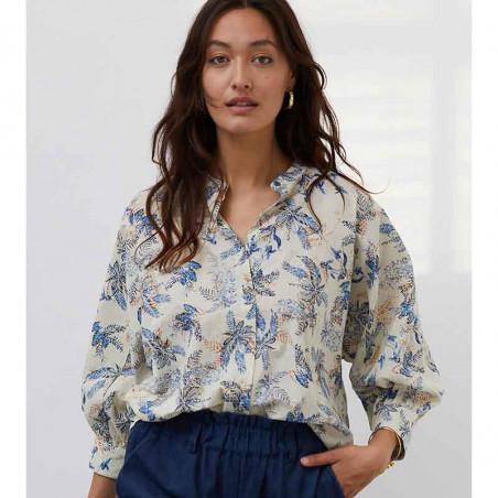 Lollys Laundry Skjorte, Ralph, Blue Skjortebluse med print Lolly's laundry bluse
