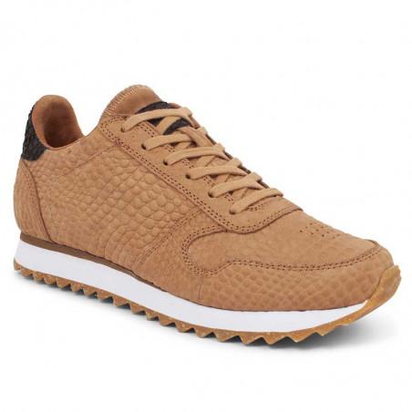 Woden Sneakers, Ydun Croco II, Tan, krokodille, sandfarvede gummisko, korksål