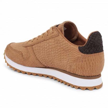 Woden Sneakers, Ydun Croco II, Tan, krokodille, sandfarvede gummisko, fiskeskind