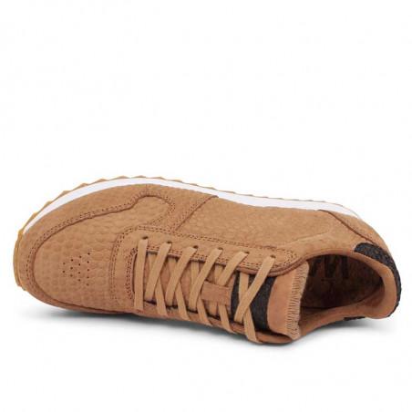 Woden Sneakers, Ydun Croco II, Tan, krokodille, sandfarvede gummisko, genbrugsgummi