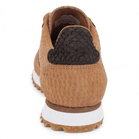 Woden Sneakers, Ydun Croco II, Tan, krokodille, sandfarvede gummisko, indersideforstærkning