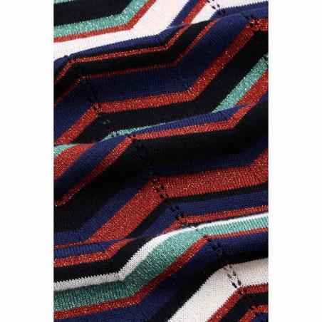 King Louie Bluse, Agnes Top Knightley, Black Zigzag strik bluse med rullekrave detalje