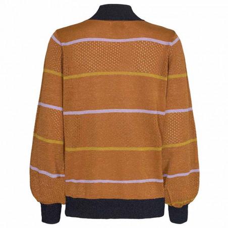 Nümph Strik, Nucarwen Turtleneck, Cathay Spice  Numph strik bluse med lurex ryg