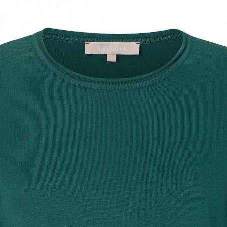Soft Rebels Bluse, SRMarla O-neck roll edge, Bayberry Strik bluse detalje