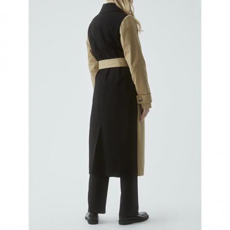 Modström Frakke, Kinsley, Camel, trenchcoat, overgangsjakke, sandfarvet, sort ryg
