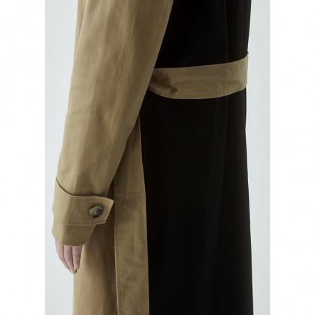 Modström Frakke, Kinsley, Camel, trenchcoat, overgangsjakke, sandfarvet, detalje