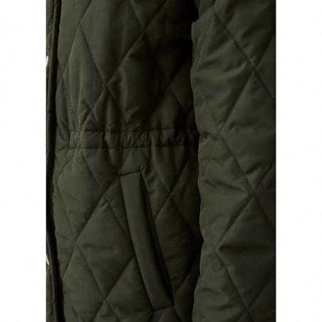 Modström Jakke, Kip, Dark Army, kviltet jakke, quilted, armygrøn, overgangsjakke, detalje