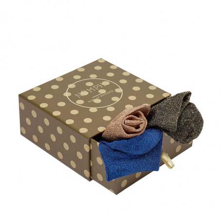Nümph Strømper, Nukingcity 3-pack, Blå/Kobber/Guld Numph ankelsokker med glimmer i gaveæske