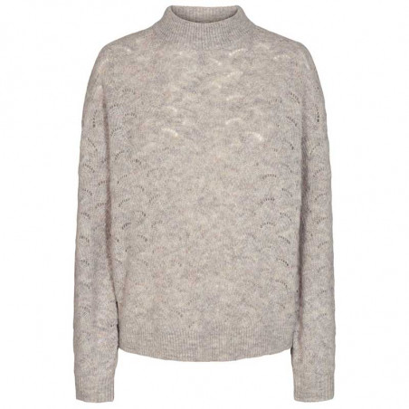 Nümph Strik, Nucathay Pullover, Light Grey Mel Numph sweater Lys grå