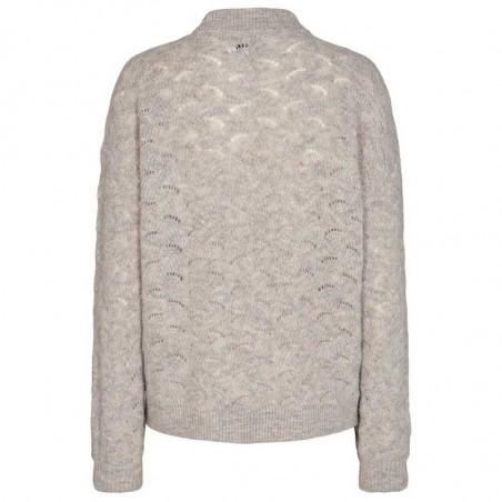 Nümph Strik, Nucathay Pullover, Light Grey Mel Numph sweater ryg
