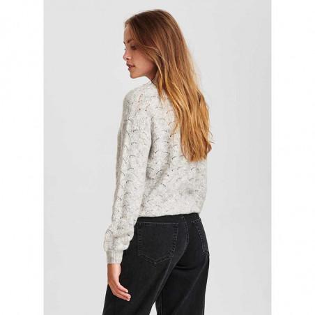 Nümph Strik, Nucathay Pullover, Light Grey Mel Numph sweater Lys grå set på model bagfra