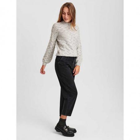 Nümph Strik, Nucathay Pullover, Light Grey Mel Numph sweater Look