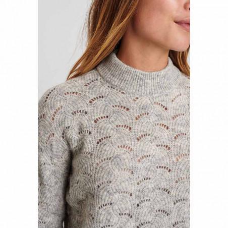Nümph Strik, Nucathay Pullover, Light Grey Mel Numph sweater detalje