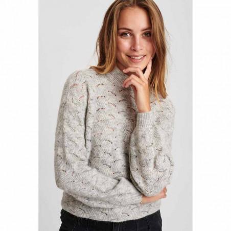 Nümph Strik, Nucathay Pullover, Light Grey Mel Numph sweater på model