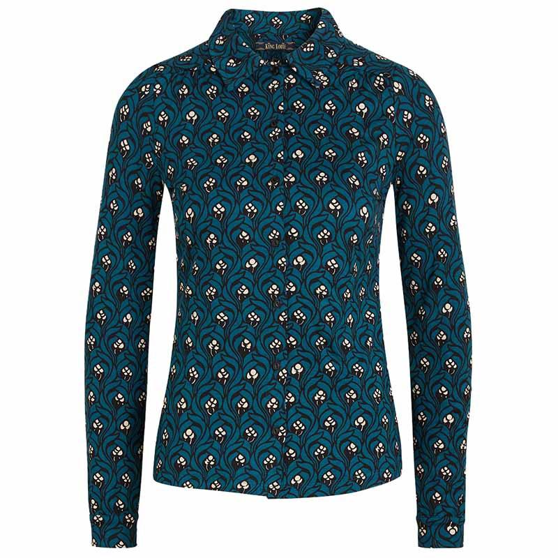 King Louie Bluse, Opera, Orient Blue king Louie skjorte, skjortebluse