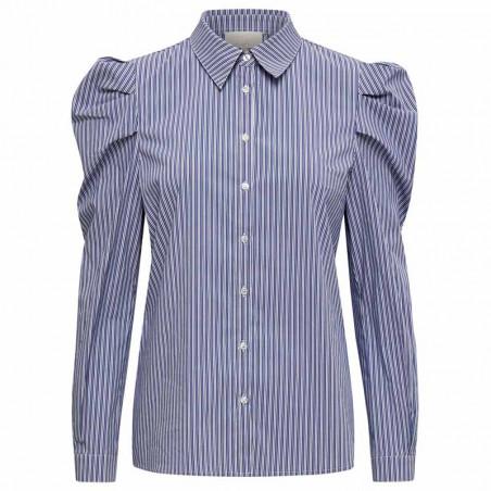 Minus Skjorte, Elayna Striped Long Sleeve, Blue Zen Stripes Minus Bluse