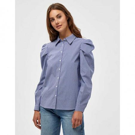 Minus Skjorte, Elayna Striped Long Sleeve, Blue Zen Stripes Minus Bluse på model