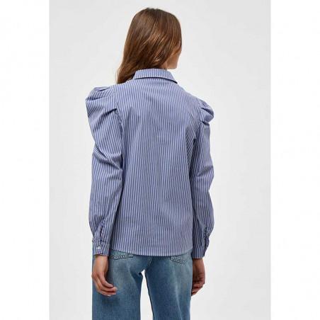 Minus Skjorte, Elayna Striped Long Sleeve, Blue Zen Stripes Minus Bluse på model set bagfra