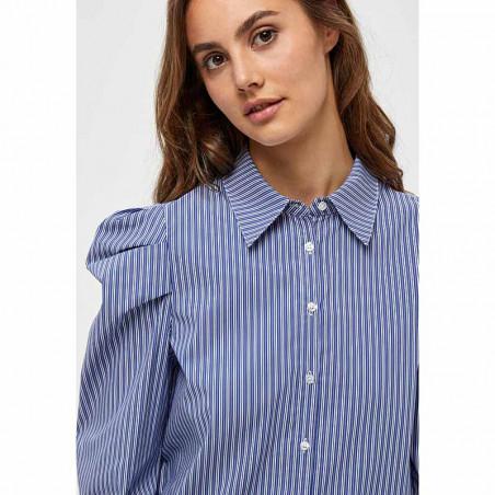 Minus Skjorte, Elayna Striped Long Sleeve, Blue Zen Stripes Minus Bluse detalje