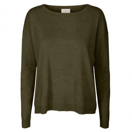 Minus Strik, Elne Knit, Dark Olive Melange munus pullover bluse