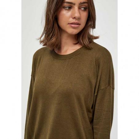 Minus Strik, Elne Knit, Dark Olive Melange munus pullover bluse detalje