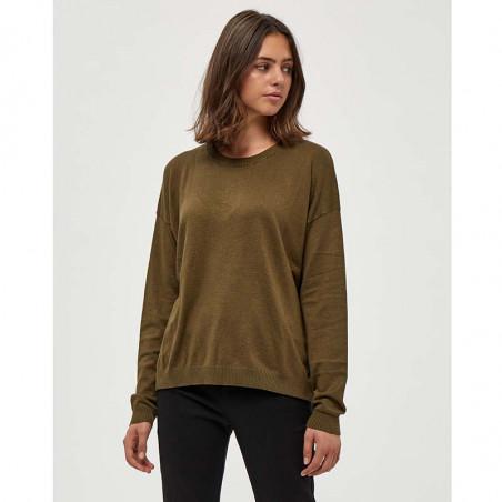 Minus Strik, Elne Knit, Dark Olive Melange munus pullover bluse på model
