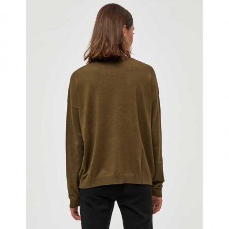 Minus Strik, Elne Knit, Dark Olive Melange munus pullover bluse set bagfra
